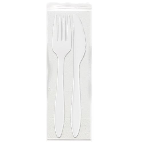 DUNI Besteckset mit Serviette, Messer & Gabel