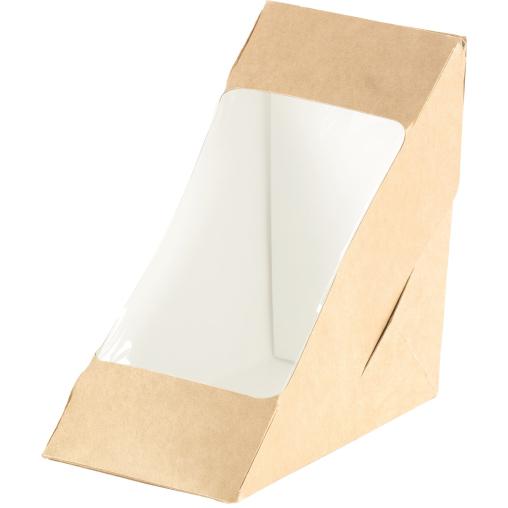 DUNI Einweg-Pappbox f. 2 Sandwichecken mit Fenster