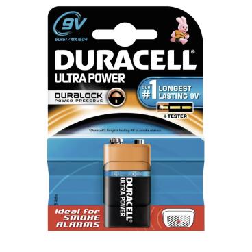 DURACELL Ultra Power 9V Blockbatterie – Duralock