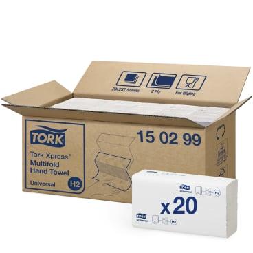 Tork Xpress® Papierhandtücher H2 Universal, 21 x 23,5 cm, 2-lagig 1 Palette = 32 Karton á 4.740 Tücher