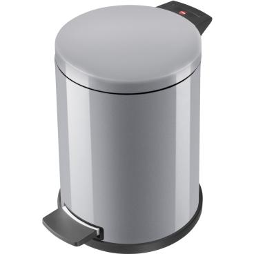 Hailo ProfiLine Solid M Tret-Abfallsammler, 12 Liter Stahlblech, silber, verzinkter Inneneimer mit Tragegriff