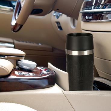 EMSA Travel Mug Isolierbecher mit Quick Press Verschluss Fassungsvermögen: 360 ml, Farbe: Schwarz