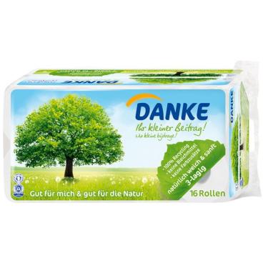 Danke Toilettenpapier aus 100 % Recyclingpapier
