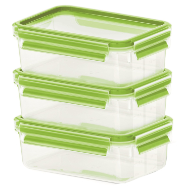 EMSA Clip & Close Colour Frischhaltedosen, 3-teiliges Set