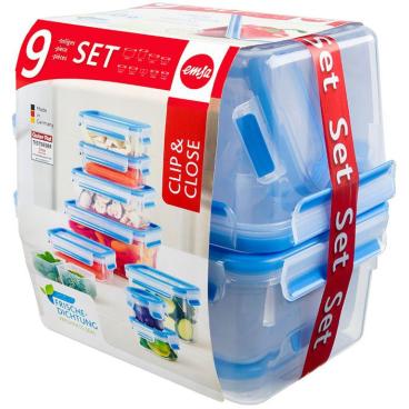 EMSA Clip & Close Frischhaltedosen, 9-teiliges Set Set bestehend aus 8 Dosen und 2 Einsätzen