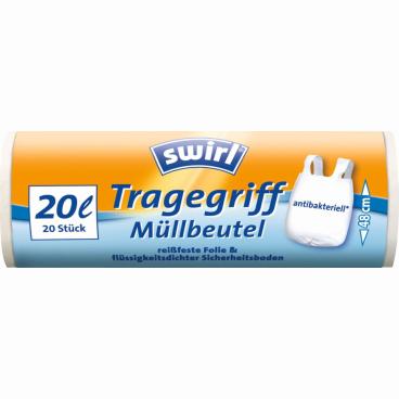 Swirl® Müllbeutel mit Tragegriffen 1 Packung = 20 Stück, Fassungsvermögen 20 l