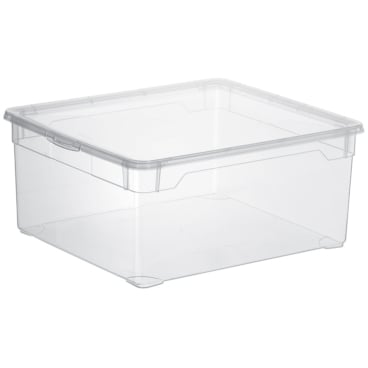 Rotho CLEAR Clearbox mit QR-Code, Aufbewahrungsbox, transparent
