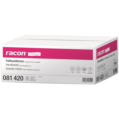 racon® comfort Falthandtücher, 24 x 23 cm, 2-lagig, naturweiß