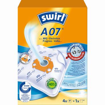 Swirl A 07 MicroPor® AirSpace Staubsaugerbeutel 1 Paket = 3 Packungen mit je 4 Stück + 1 Filter