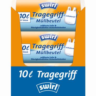 Swirl® Müllbeutel mit Tragegriffen 1 Karton = 16 x 37 Stück = 592 Stück, Fassungsvermögen 10 l