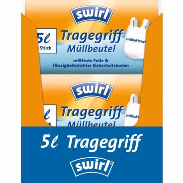 Swirl® Müllbeutel mit Tragegriffen 1 Karton = 16 x 40 Stück = 640 Stück, Fassungsvermögen 5 l