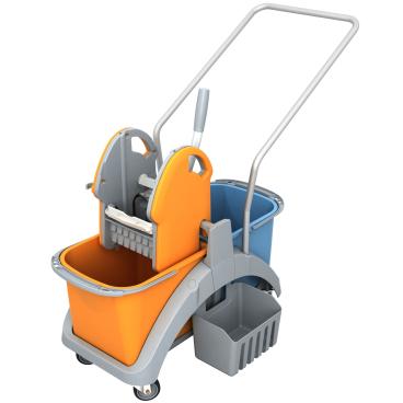 Cleankeeper Doppelfahrwagen 2 mit Kunststoffpresse