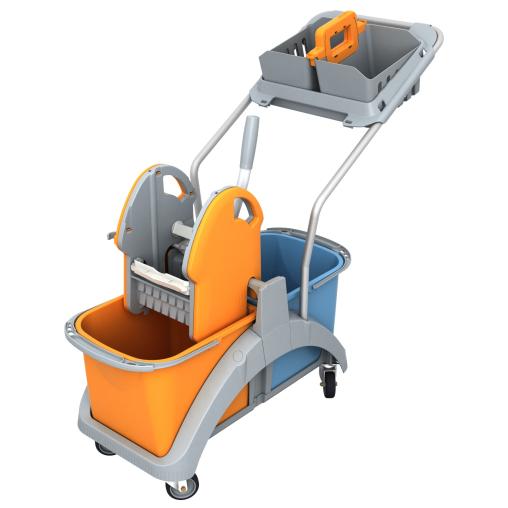 Cleankeeper Doppelfahrwagen 9 mit Kunststoffpresse
