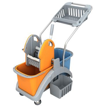Cleankeeper Doppelfahrwagen 4 mit Kunststoffpresse