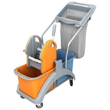 Cleankeeper Doppelfahrwagen 12 mit Kunststoffpresse