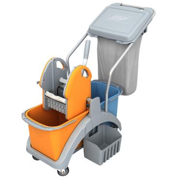 Cleankeeper Doppelfahrwagen 15 mit Kunststoffpresse