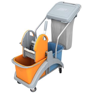 Cleankeeper Doppelfahrwagen 14 mit Kunststoffpresse