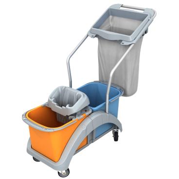 Cleankeeper Doppelfahrwagen 17 mit Kunststoffwringer