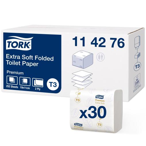 Tork Einzelblatt Toilettenpapier T3 Premium, 2-lagig, weiß