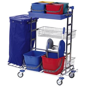 Floorstar Reinigungswagen RW 3 SOLID, verchromt mit Halterahmen für 2 x 70 l - Müllsäcke