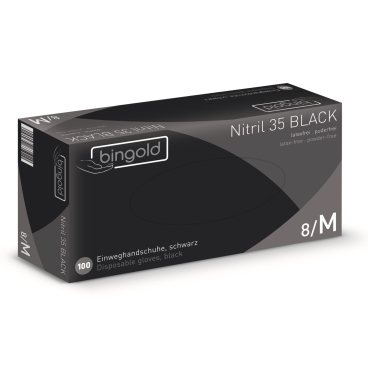 BINGOLD Nitril 35BLACK Einweghandschuhe, schwarz