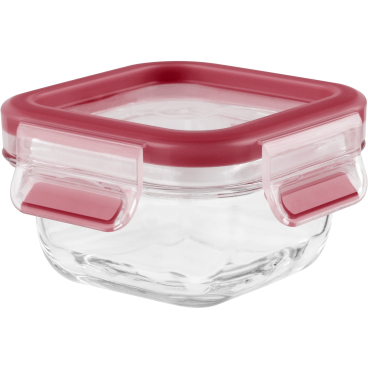 EMSA Clip & Close Frischhaltedose Glas, quadratisch, rot