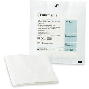 Fuhrmann Vliesschlitzkompressen steril, 30 Gramm, 6 - lagig
