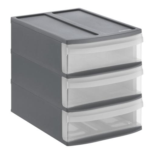 Rotho SYSTEMIX Schubladenbox, 3 Schubfächer