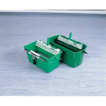UNGER Kleiner Eimer für die Glasreinigung mit Ablage für Wischer und Einwascher