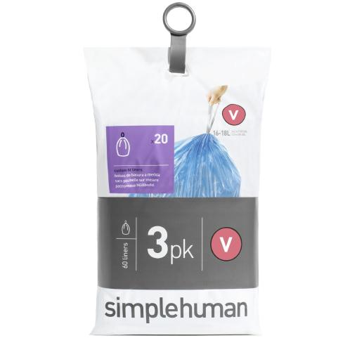 simplehuman passgenaue Müllbeutel, code V, blau, 16-18 Liter