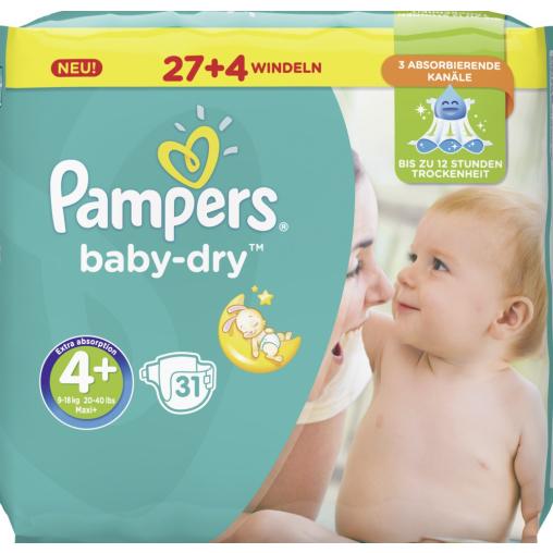 Pampers Baby Dry Maxi Plus Windeln 9-18 kg, Größe 4+