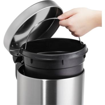 """helit """"the silent"""" Metall-Tretabfallbehälter, 5 Liter Farbe: schwarz"""