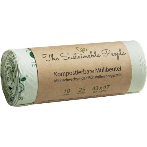 TSP Bio Müllbeutel, 10 Liter, 100% heim-kompostierbar, 43 x 47 cm