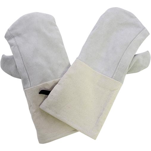SCHNEIDER Leder Backhandschuhe mit Baumwollstulpe, 360 mm