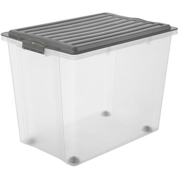 Rotho COMPACT Stapelbox mit Rollen, 70 Liter