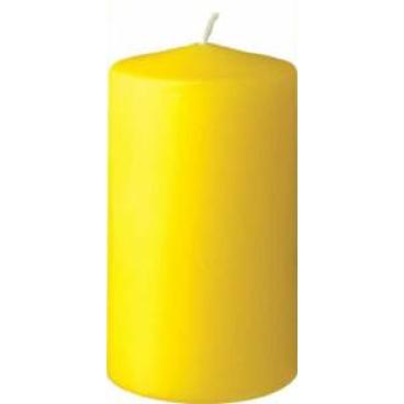 DUNI Stumpenkerzen, rund, gerade Form 1 Karton = 6 x 10 Stück, Farbe: gelb