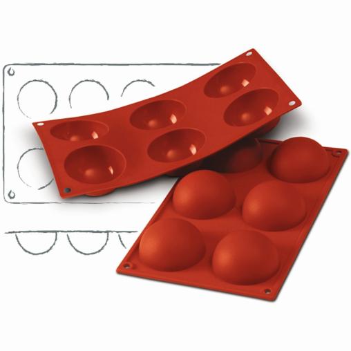 SCHNEIDER Silikon-Backform, Halbkugel, rot