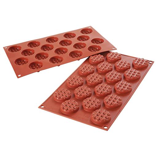 SCHNEIDER Silikon-Backform, Waffel rund, rot