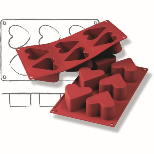 SCHNEIDER Silikon-Backform, Herz, rot