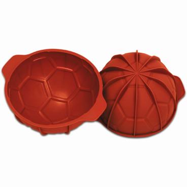 SCHNEIDER Einzelne Silikon-Backform, Fußball, rot Höhe: 95 mm, Ø 180 mm