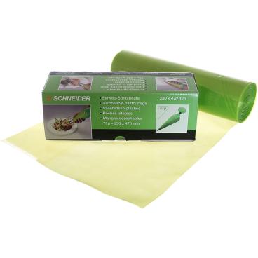 SCHNEIDER Einweg-Spritzbeutel, ECO, 70 my, grün 1 Box = 1 Rolle à 100 Stück, 470 x 230 mm