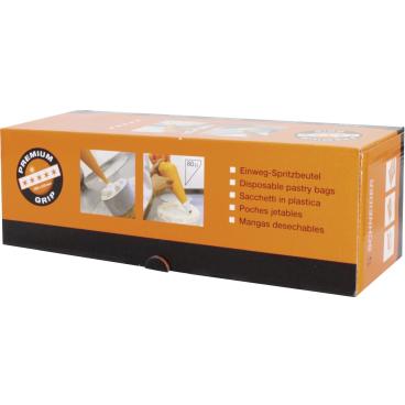 SCHNEIDER Einweg-Spritzbeutel, Premium Grip, 80 my, orange 1 Box = 1 Rolle à 100 Stück, 59 x 28 cm