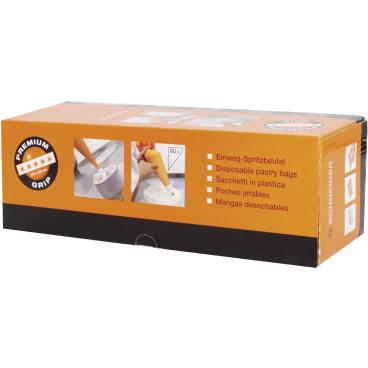 SCHNEIDER Einweg-Spritzbeutel, Premium Grip, 80 my, orange 1 Box = 1 Rolle à 100 Stück, 53 x 28 cm