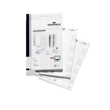 DURABLE BADGEMAKER® Einsteckschilder 1 Packung = 20 Stück, Maße: 40 x 75 mm, DIN A4
