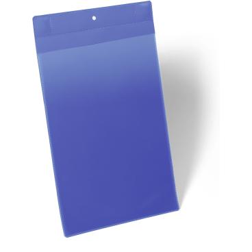 DURABLE Neodym-Magnettasche 1 Packung = 10 Stück, Innenformat: A4 hoch, Farbe: blau