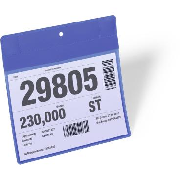 DURABLE Neodym-Magnettasche 1 Packung = 10 Stück, Innenformat: A5 quer, Farbe: blau