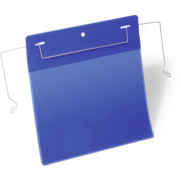 DURABLE Drahtbügeltasche 1 Packung = 50 Stück, Innenformat: A5 quer, Farbe: blau