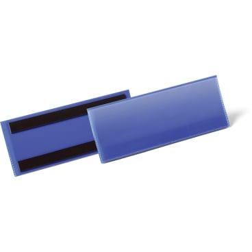 DURABLE Magnetische Etikettentasche 1 Packung = 50 Stück, Innenformat: 1/2 A5 quer, Farbe: blau