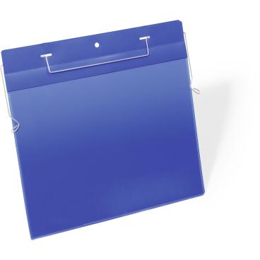 DURABLE Drahtbügeltasche 1 Packung = 50 Stück, Innenformat: A4 quer, Farbe: blau