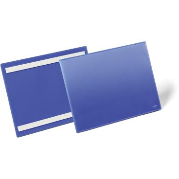 DURABLE Selbstklebende Etikettentasche 1 Packung = 50 Stück, Innenformat: A4 quer